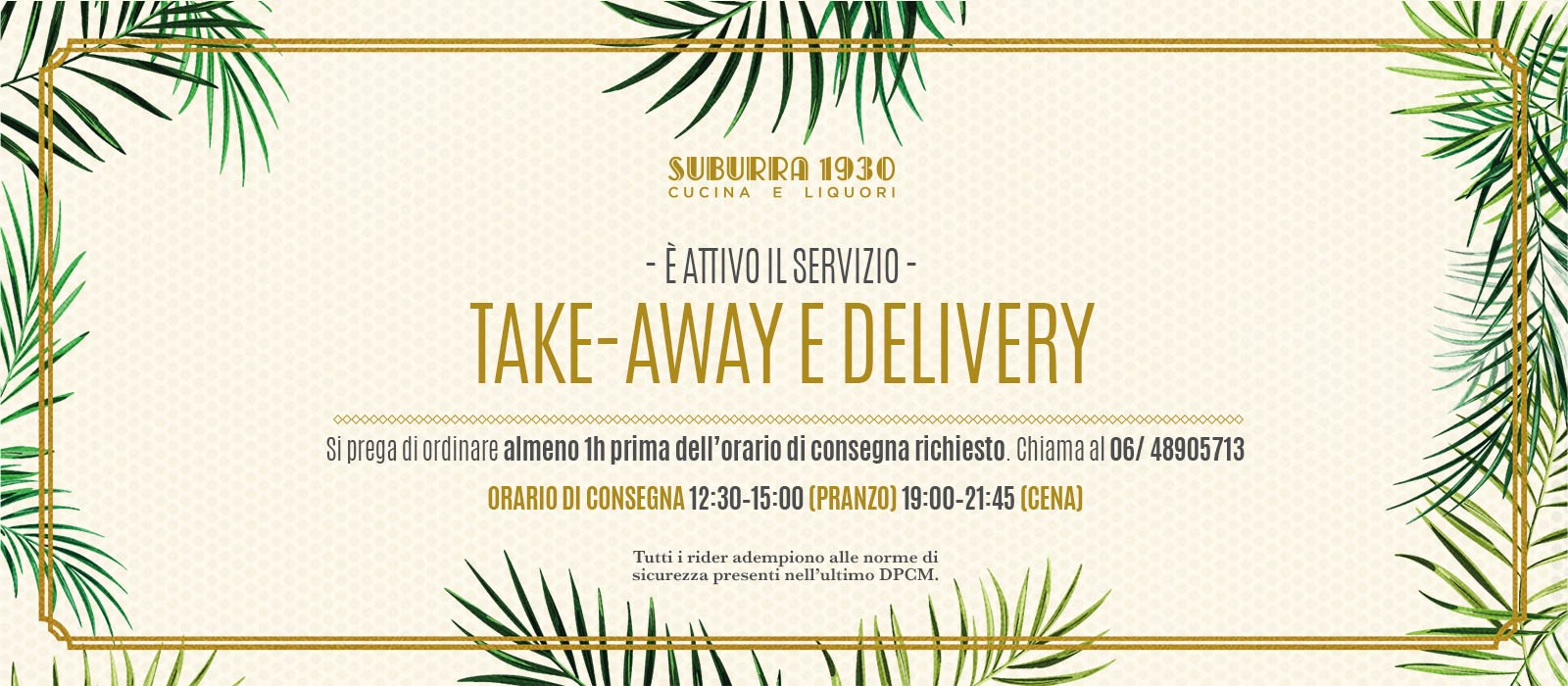 Suburra Servizio Take-Away e Delivery